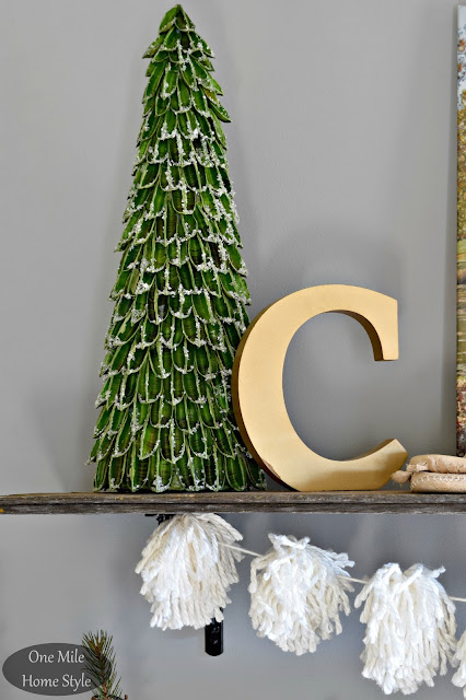 Snowy Tree and Metallic Letter C Shelf Decor | Christmas Home Tour - One Mile Home Style