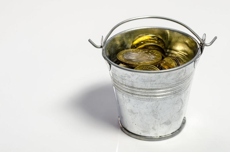 Money in a bucket