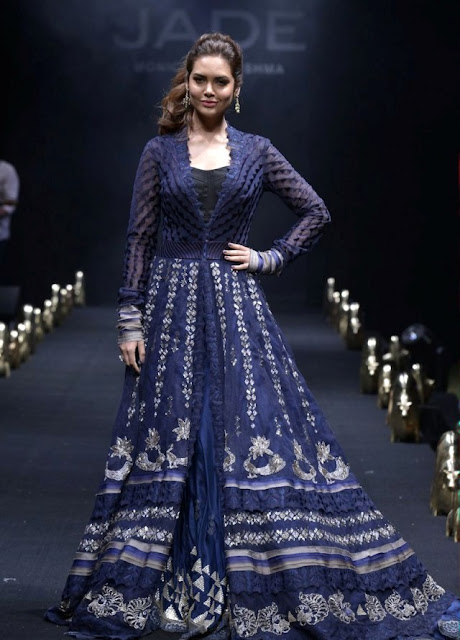 Esha Gupta in Bridal Anarkali by Monica & Karishma of Jade