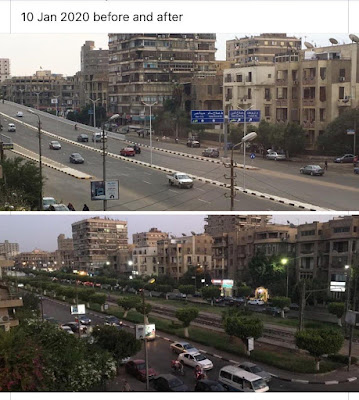 A before and after photo for a street in Heliopolis