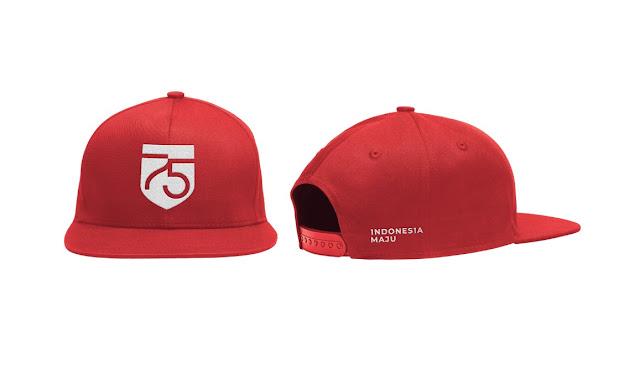 desain merchandise topi media logo hut ri 75