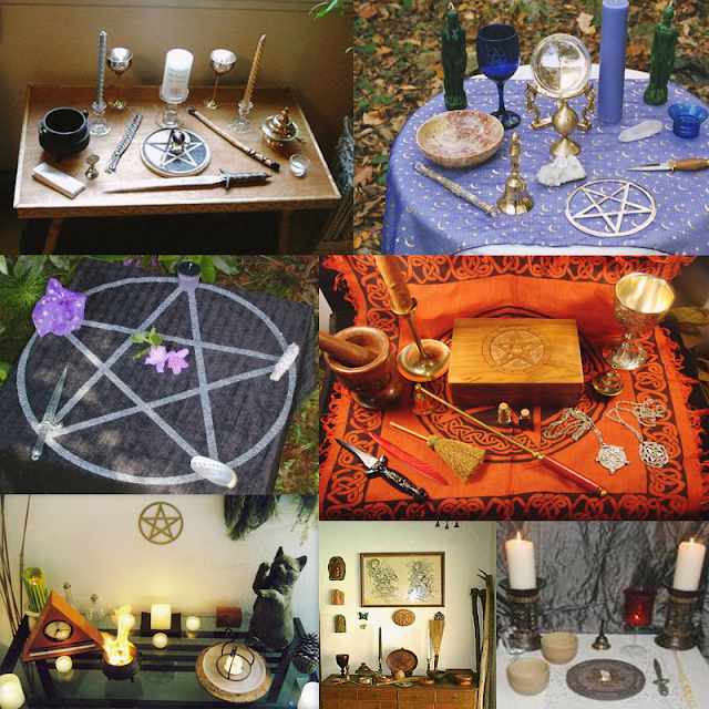 Alguns exemplos de altares mágicos.