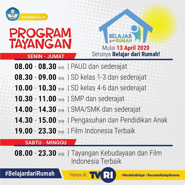 """Ini Jadwal Program Tayangan """"Belajar dari Rumah"""" di TVRI"""