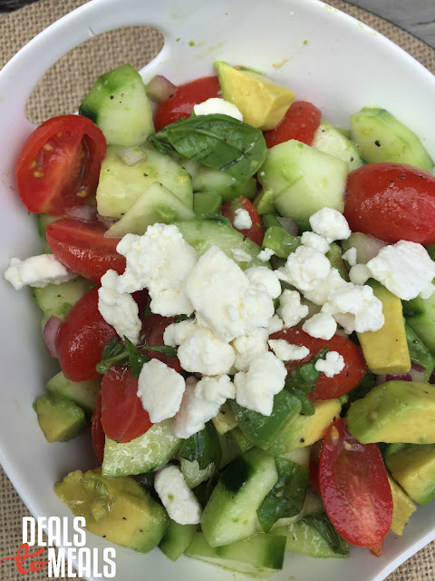 Recipe: Salad, Recipe: Garden, garden recipes, Tomato Cucumber Avocado Salad with Fresh Basil Dressing, simple garden salad, Deals to Meals, Recipe: Side