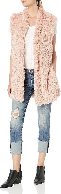 Women's Pink Faux Fur Vests