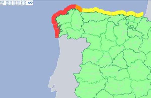 Aviso  extremo por oleaje, A Coruña y Pontevedra, 2 febrero