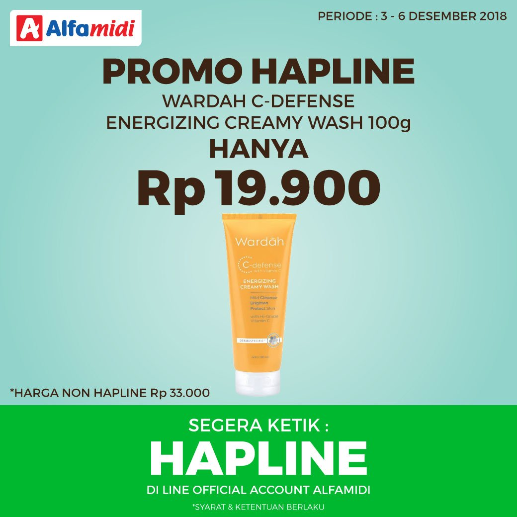 Alfamidi - Promo HAPLINE Wardah C-Defence Hanya 19K (s.d 06 Des 2018)