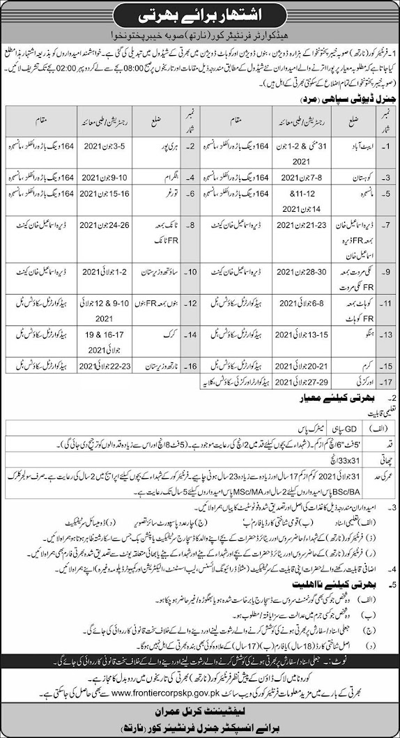 FC Frontier Corps Jobs 2021 -  Frontier Corps FC KPK North Jobs 2021 - BPS-02 to BPS-11 Recruitment