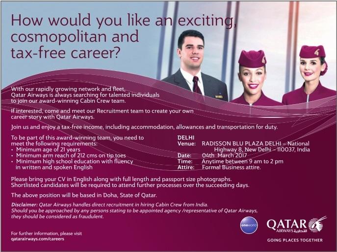 Qatar airways cabin crew recruitment delhi 2017 for Cabin crew recruitment 2017