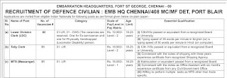 EMB HQ Chennai Recruitment 2021 05 LDC & MTS Posts