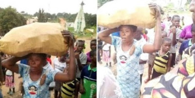 Lady Who Stole Cassava Made To Carry It Round The Village In Abia (Photos)