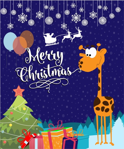 Christmas card vector illustration with cute giraffe Free vector file templates