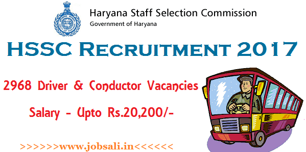 HSSC Driver Recruitment 2017, HSSC Conductor Vacancies, Haryana Govt jobs