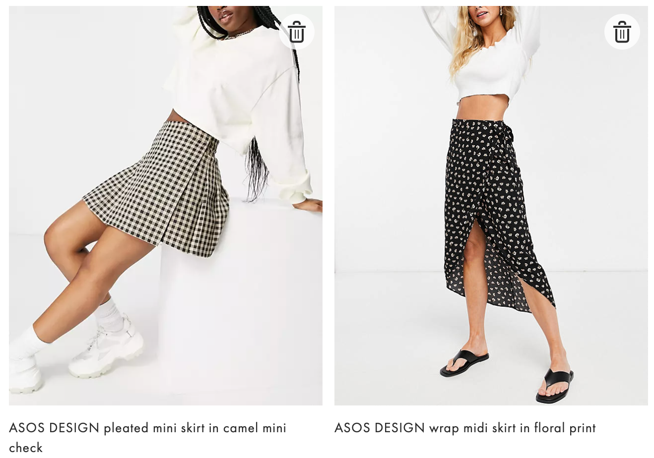 ASOS DESIGN pleated mini skirt in camel mini check ASOS DESIGN wrap midi skirt in floral print