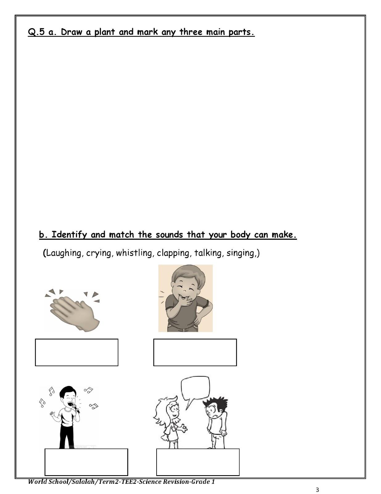 Birla World School Oman Revision Worksheets For Grade 1