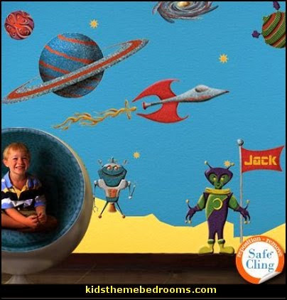 Space Wall Stickers for Space Theme Wall Mural - Easy Peel & Stick Wall DeSpace Wall Stickers for Space Theme Wall Mural - Easy Peel & Stick Wall Decals outer space kids themed bedrooms