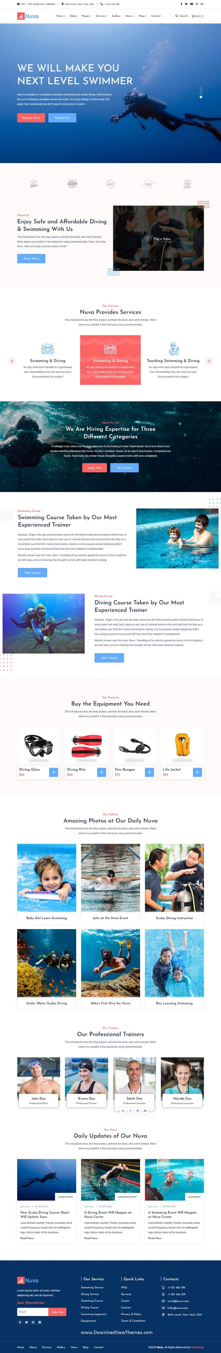Swimming Scuba Diving Template