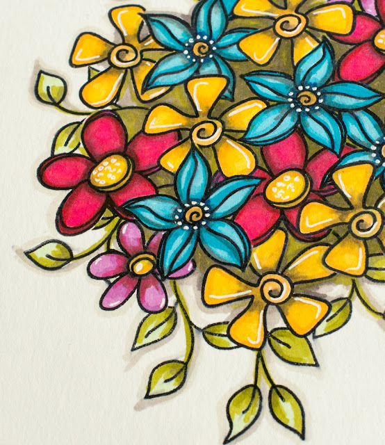 Vibrant Flower Card with Masking Stamping Technique
