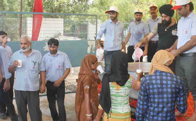 Faridabad Escorts employees paint fresh water on Nirajla Ekadashi