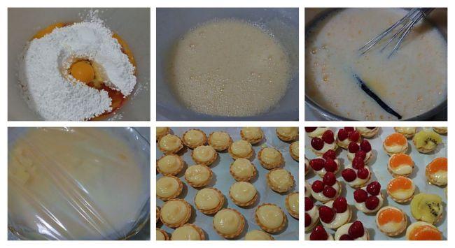 Preparación de las mini tartaletas de crema pastelera con frutas