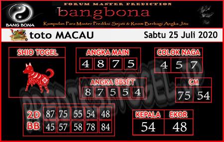 Prediksi Bangbona Togel Macau Sabtu 25 Juli 2020