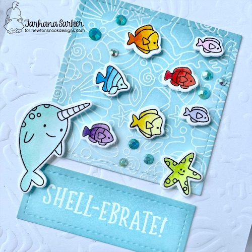 Shell-ebrate Card by Farhana Sarker | Narly Mermaids Stamp Set, Seashell Roundabout Stamp Set and Tropical Fish Stencil by Newton's Nook Designs #newtonsnook #handmade