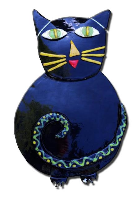How to hang ceramic art - Ed's big black clay cat