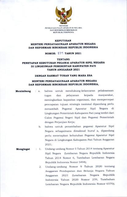 Formasi CPNS dan PPPK Kabupaten PATI Jawa Tengah