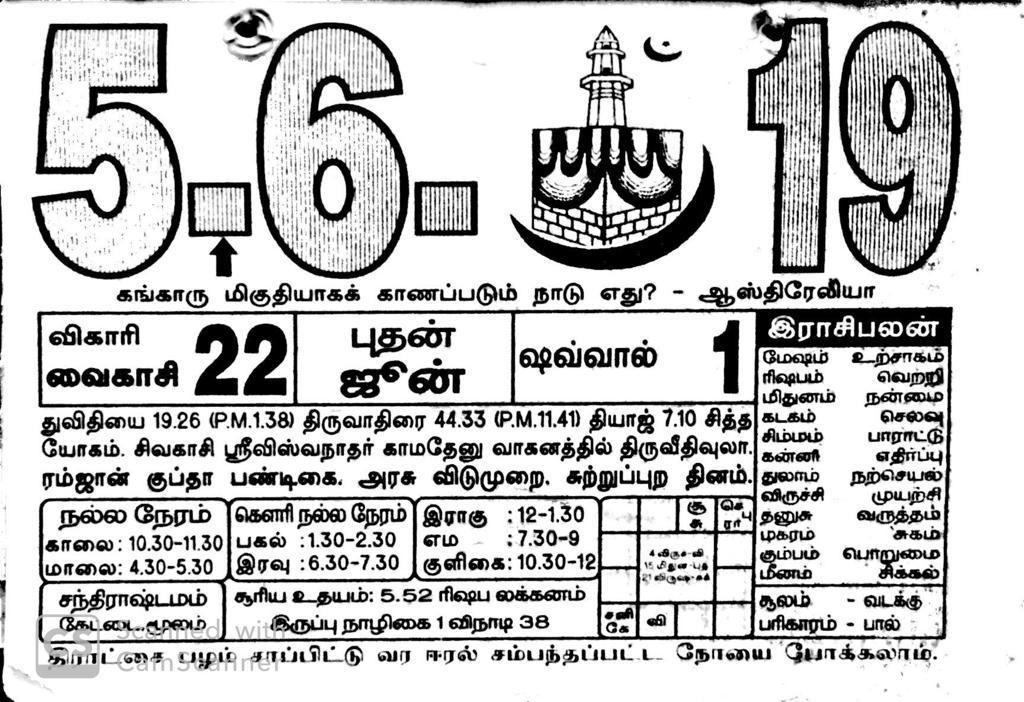 June 2019 - Daily Raasi Palan