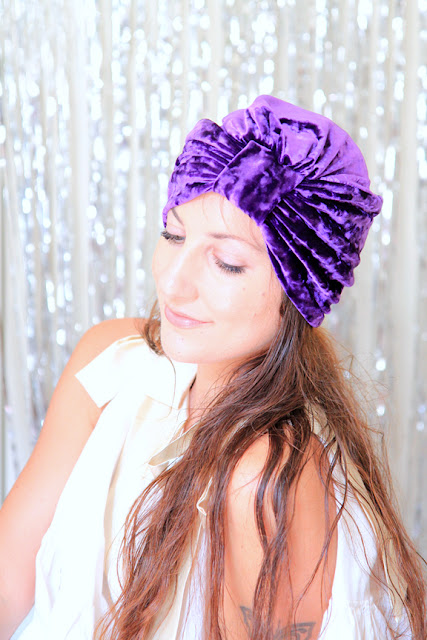 Crushed Velvet Turban in Plum by Mademoiselle Mermaid