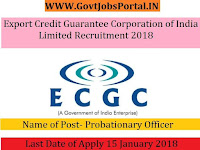 Export Credit Guarantee Corporation of India Limited Recruitment 2018 – 32 Probationary Officer