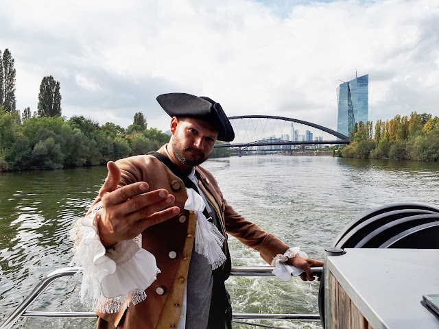 Goethe on a boat on the Main river in Frankfurt