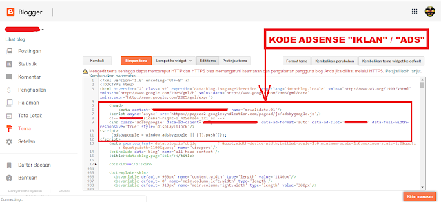 Cara Menempatkan Kode ID Ads Iklan