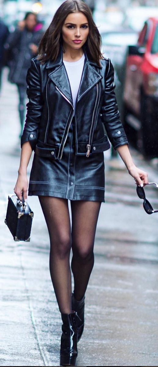 trendy outfit / leather jacket + bag + black midi skirt + boots