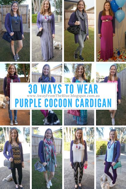 30 ways to wear Jeanswest Peggie purple cocoon cardigan outfit ideas   awayfromblue