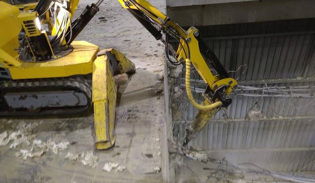 Verwijderen, betonvloer, afbraak, machines, hoogte, kelder