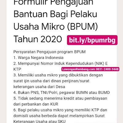Formulir Pengajuan Bantuan Bagi Pelaku Usaha Mikro (BPUM) Tahun 2020
