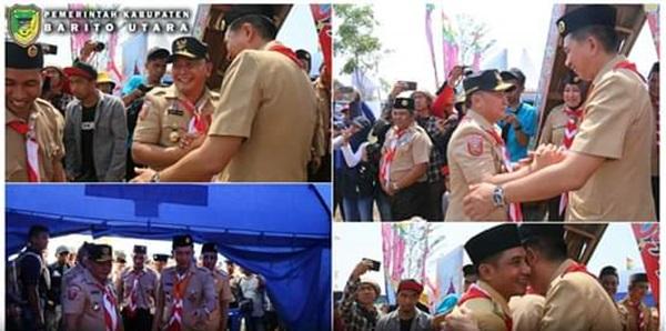 Bupati Sambut Kunjungan Gubernur Dan Wakil Gubernur Kalteng Di Kemah Kontingen Barito Utara
