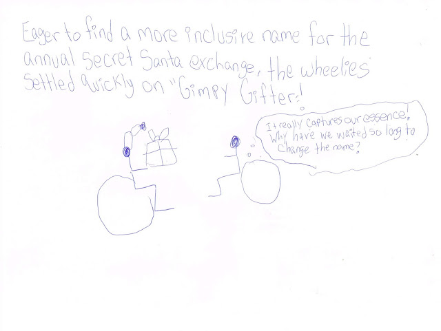 "A wheelchair user stick figure in a Santa hat holds a present. Another says excitedly ""It really captures our essence! I don't know why we waited so long to change the name."""