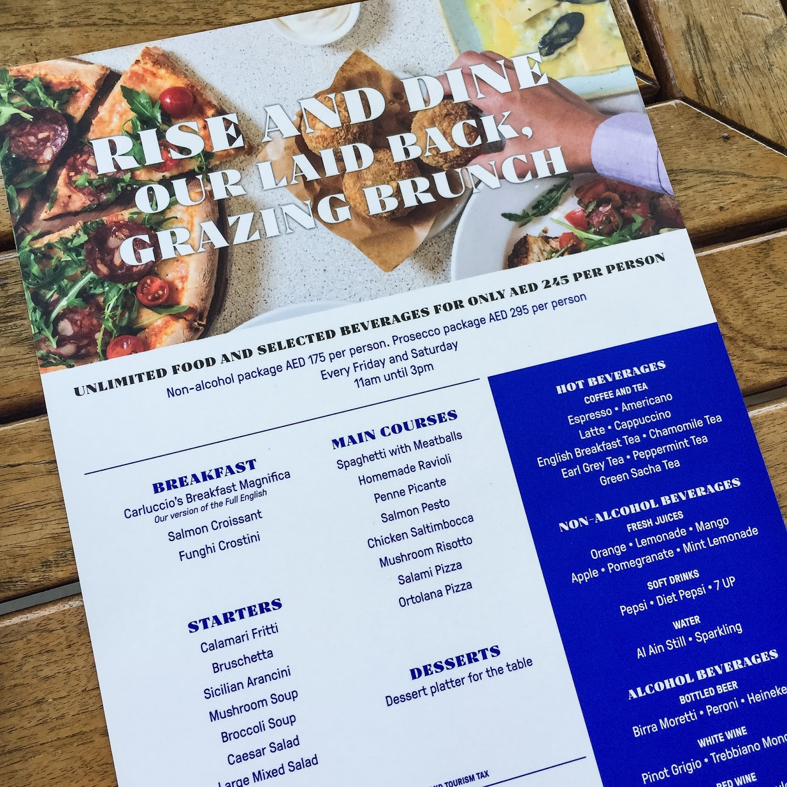 Carluccio's Abu Dhabi Rise & Dine Brunch Review