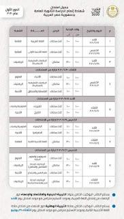 انفراد وحصريا جدول امتحانات الثانوية العامة المعدل