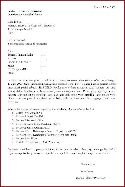Contoh Application Letter Untuk Staff HRD (Fresh Graduate) Berdasarkan Informasi Dari Media Sosial