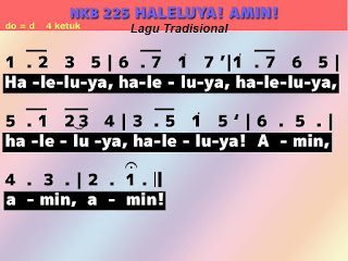 Lirik dan Not NKB 225 Haleluya! Amin!