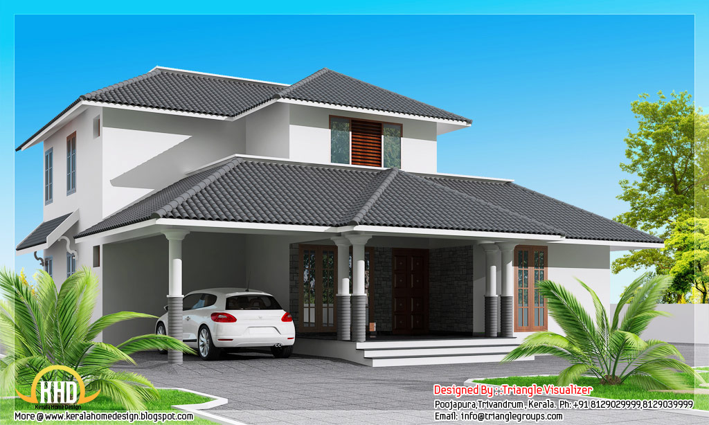 Modern 3 bedroom sloping roof house 1800 kerala for Modern 3 bedroom house