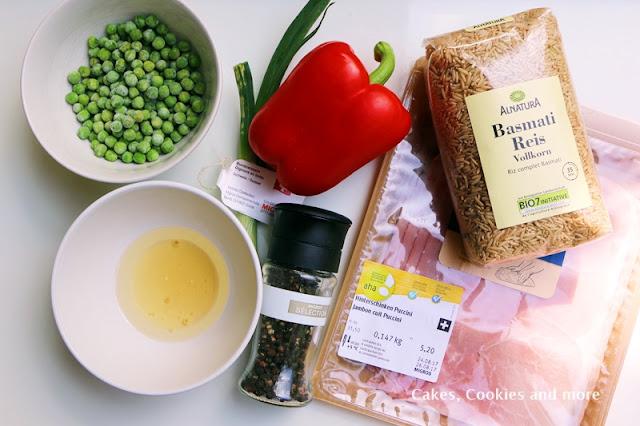 Zutaten für Reissalat mit Vollkornreis, Erbsen und Schinken