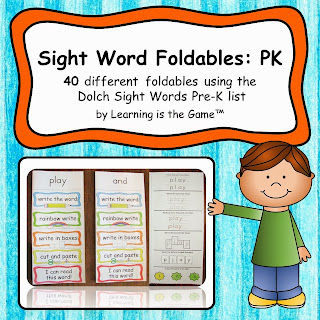 Learning is the Game: Sight Word Foldables: PK All 40 words