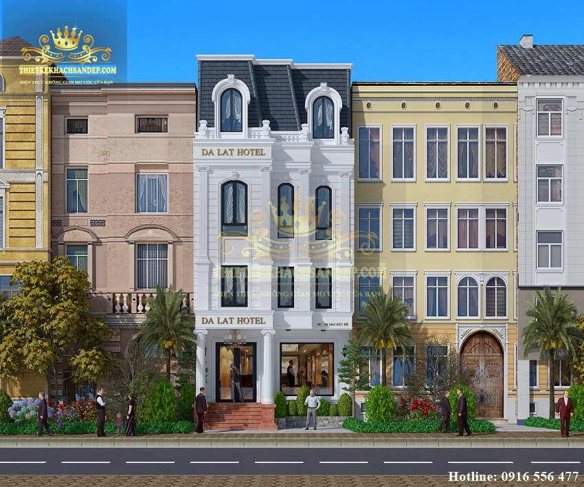 Hình ảnh: Thiết kế khách sạn đẹp mặt tiền 10m được quan sát ở mặt chính diện lộ rõ các đặc trưng từ phong cách tân cổ điển.