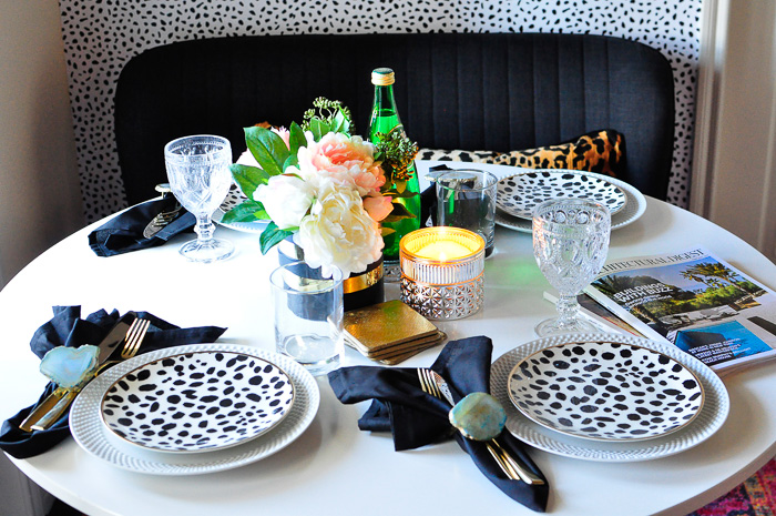 A gorgeous dining space in a small apartment. It's 54 square feet of style and genius renters hacks.