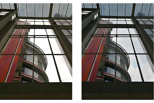 Contoh perbandingan gambar yang memiliki dynamic range lebih tinggi (kanan) sehingga mampu menangkap detil dengan lebih baik di area gelap dan terang. Perhatikan sisi langit di gambar kanan yang masih memperlihatkan detil berupa bentuk awan, dibanding langit di gambar dengan dynamic range rendah (kiri) yang hanya berupa warna putih polos tanpa detil