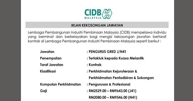 Jawatan Kosong di CIDB Malaysia 2019